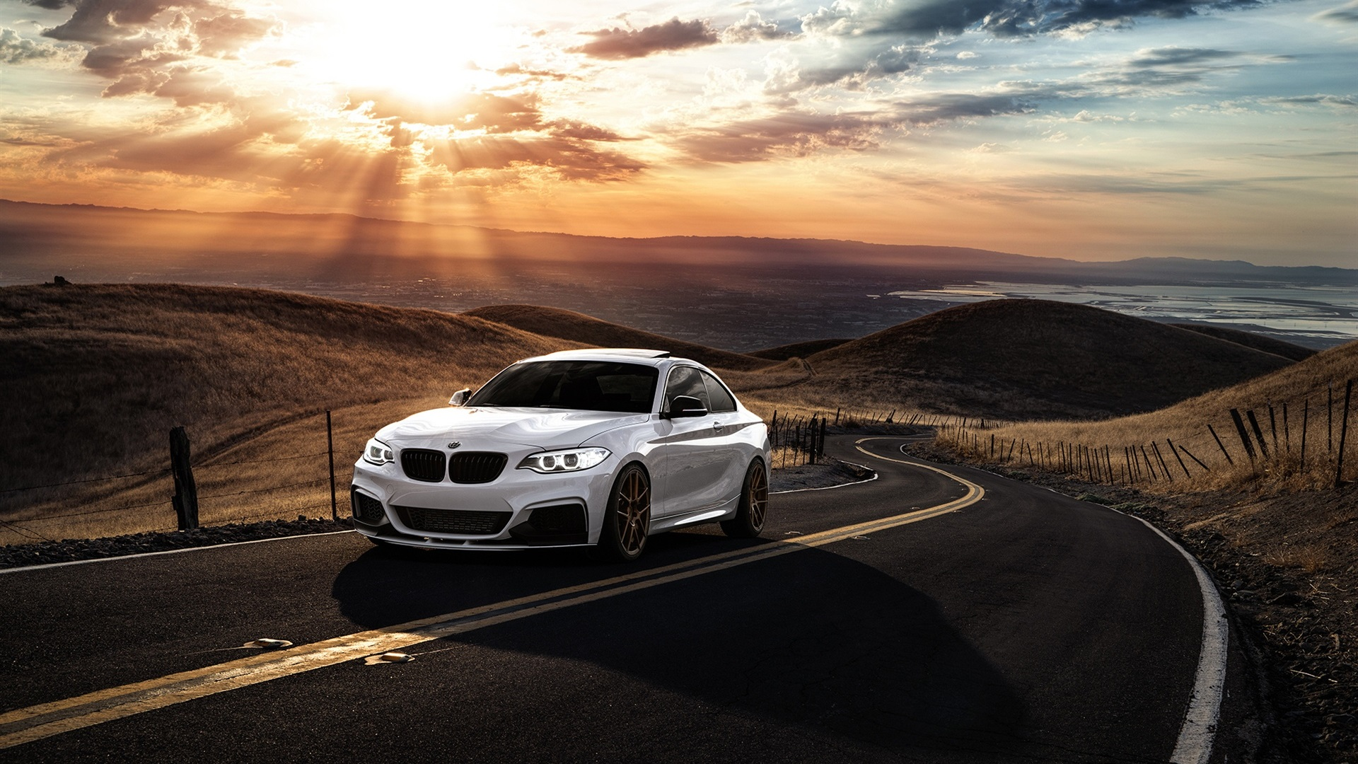 Audi A4 Iphone Wallpaper Wallpaper Bmw M235i White Car Sunset Clouds Road