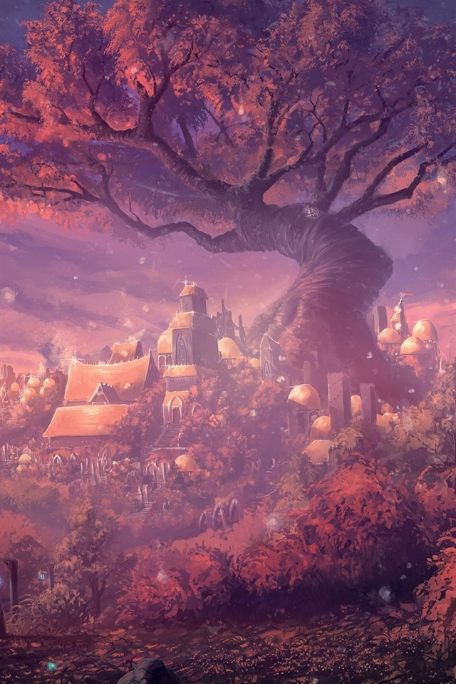 Tiger Iphone 6 Wallpaper Wallpaper Fantasy Forest City Gate Forest Houses Art