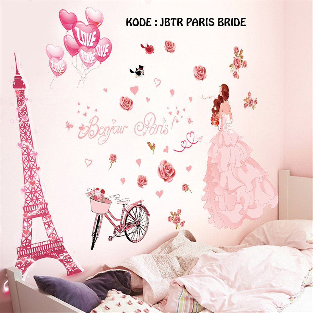Wallpaper Kamar Paris Wallsticker Stiker Dinding Paris Bride Uk 60x90