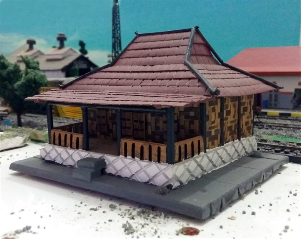 Model Rumah Joglo Jawa Miniatur Model Rumah Adat Jawa Rumah Joglo 1 87 Ho Scale Built Up Traditional Java Joglo House Building For Train Model