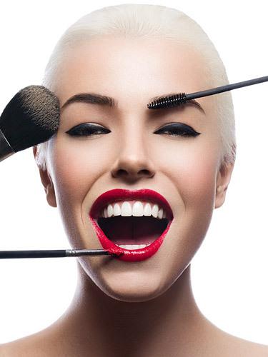 Girl Red Lips Wallpaper Blonde Blonde Hair Brush Happy Make Up Image 257803