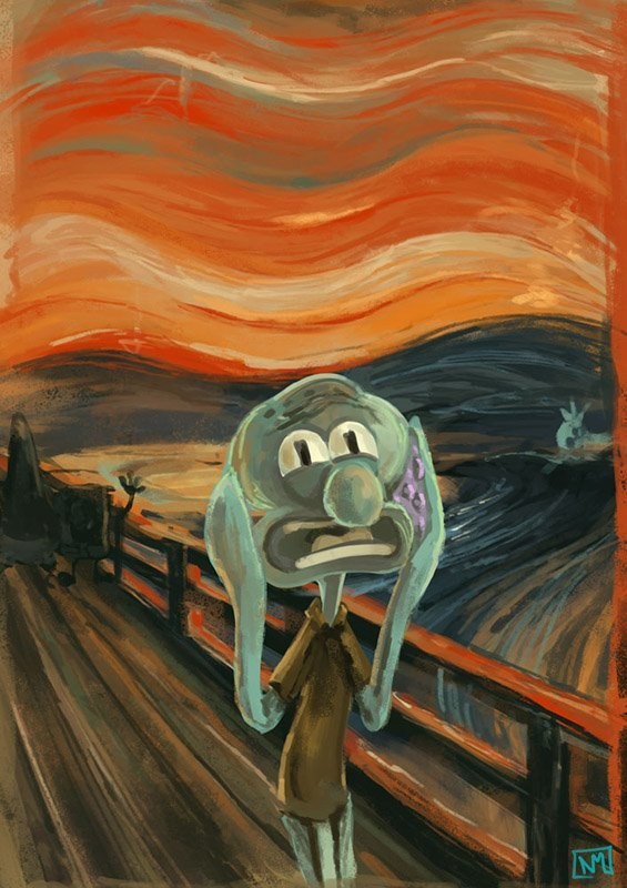 So Cute Couple Wallpaper Funny Painting Sponge Bob Squidward The Scream Image