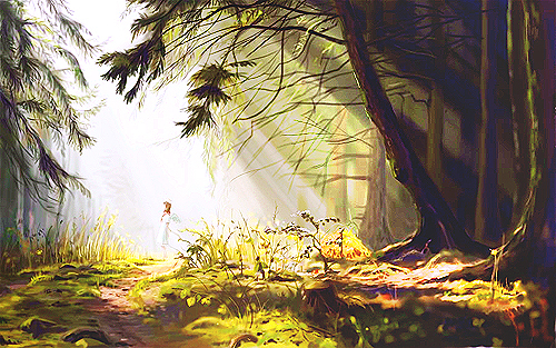Cute Scenery Gif Wallpaper Angel Anime Background Beam Lights Forest Image