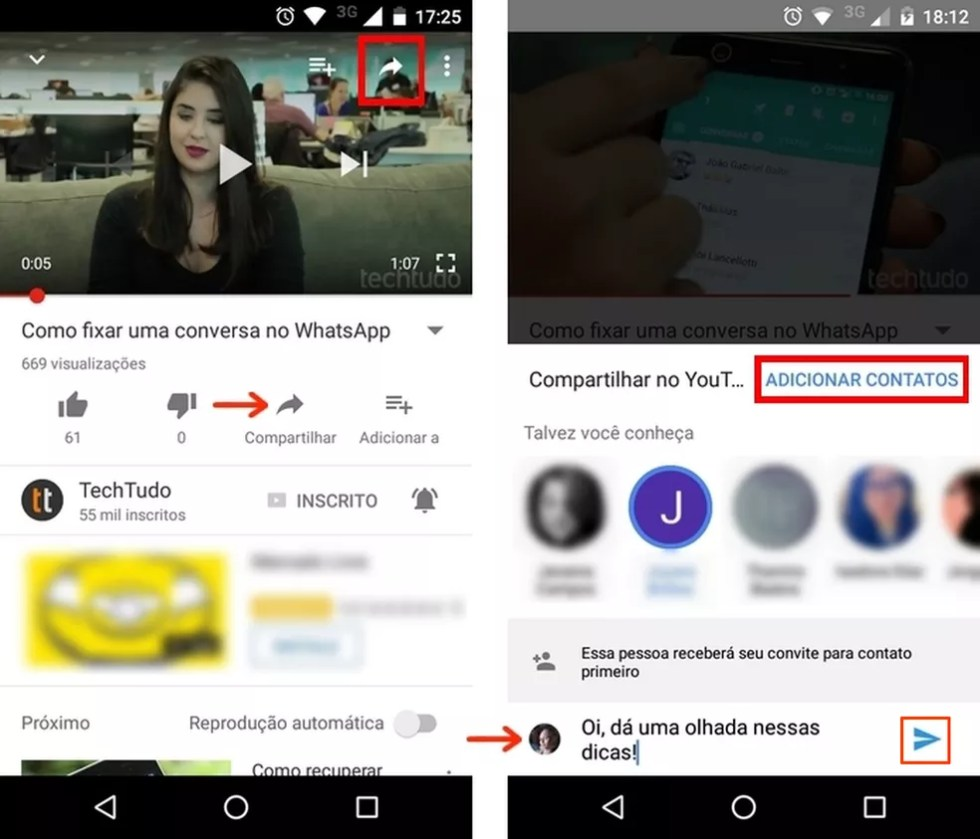 Envio de vídeo do YouTube por chat do próprio app (Foto: Reprodução/Raquel Freire)