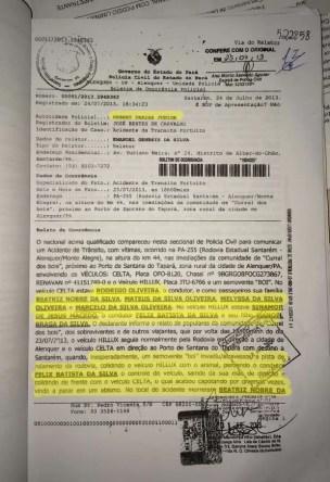 Boletim de Ocorrência falsificado pelo suspeito (Foto: Divulgação/Polícia Civil de Santarém)
