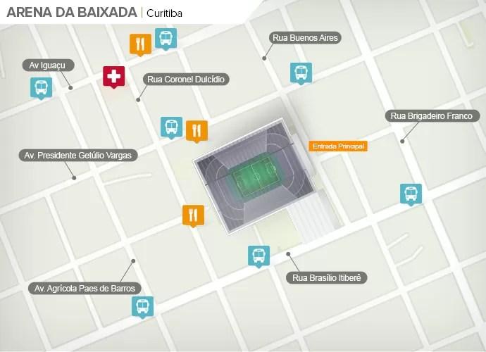 Mapa de acesso às ruas da Arena da Baixada (Foto: Google Maps / Infografia GloboEsporte.com)
