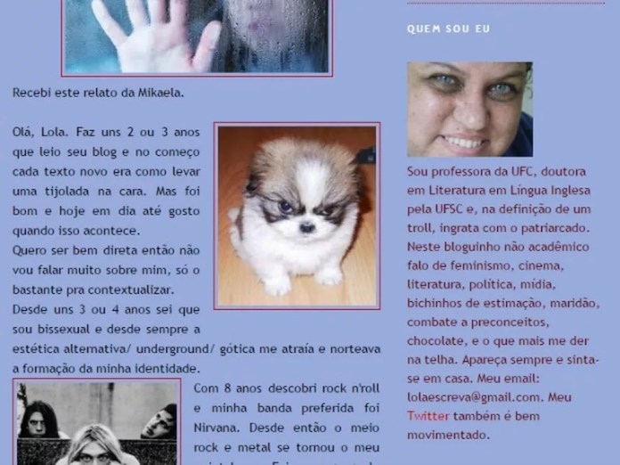 Lola Aronovich mantém blog feminista há dez anos (Foto: Reprodução)