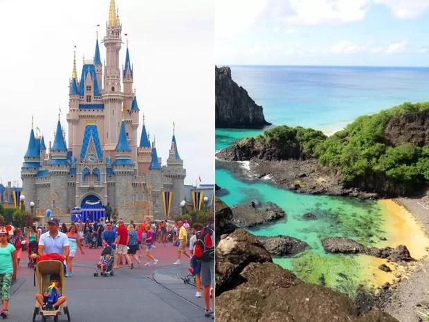 Disney ou Fernando de Noronha? Sobe e desce do dólar tem feito turistas brasileiros trocarem destinos (Foto: Flavia Mantovani/G1 e Ana Clara Marinho/TV Globo)