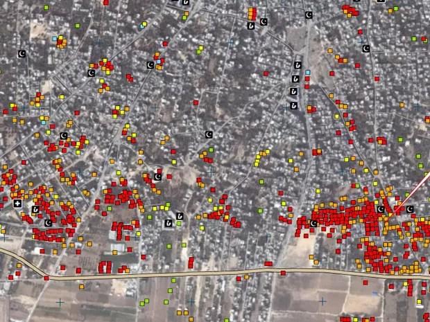 Imagem de satélite mostra destruição (pontos em vermelho) em assentamento no nordeste da Faixa de Gaza.  (Foto: Unosat/United Institute for Training and Research)