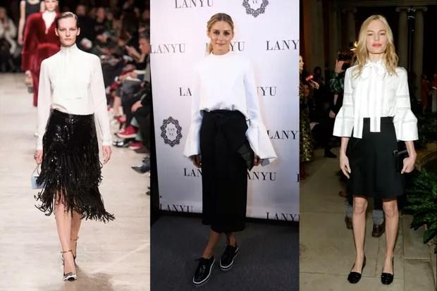 Para sair para jantar, um look clássico com blusa branca e saia preta é certeiro (Foto: GettyImages)