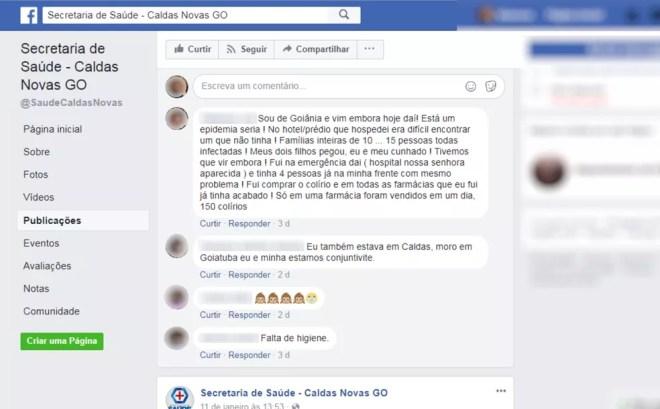 Visitantes reclamam de surto de conjuntivite em Caldas Novas (Foto: Reprodução/Facebook)