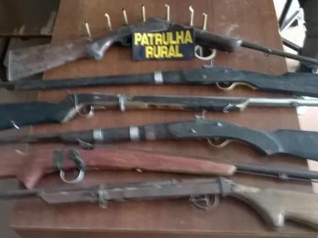 Armas apreendidas no distrito de Cruzeiro do Nordeste, em Sertânia (Foto: Divulgação / Polícia Militar)