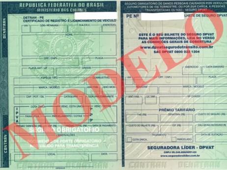 Documento de carro de 2016 Detran PE (Foto: Divulgação)