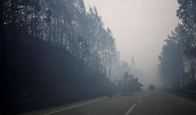 Fumaça é vista na autoestrada IC8 na manhã deste domingo (18) devido ao incêndio florestal que atinge a região central de Portugal (Foto: Rafael Marchante/Reuters)