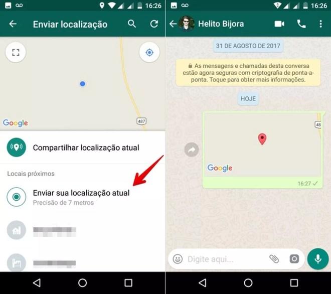 Enviando a sua localização estática no WhatsApp para Android (Foto: Reprodução/Helito Bijora)