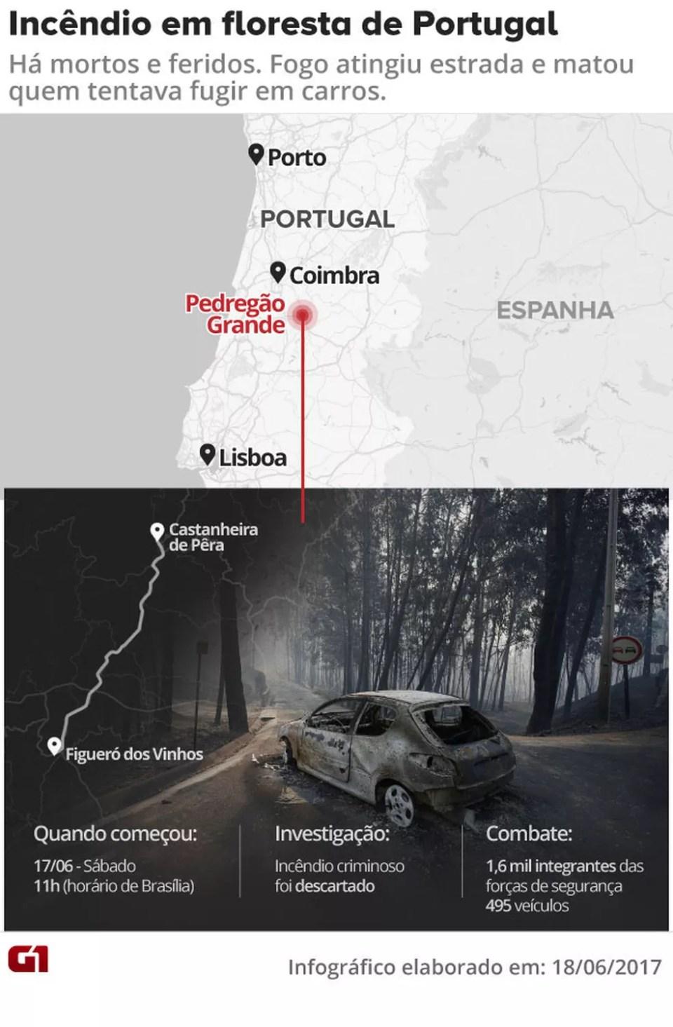(Foto: ) Incêndio em Portugal dura mais de 24 horas; mais de 60 morreram Incêndio em Portugal dura mais de 24 horas; mais de 60 morreram incendio floresta portugal v2
