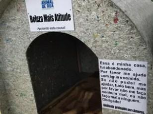 Além das plaquinhas, recadinhos de conscientização também foram colados nas casinhas (Foto: Bruna Uncini/Divulgação)