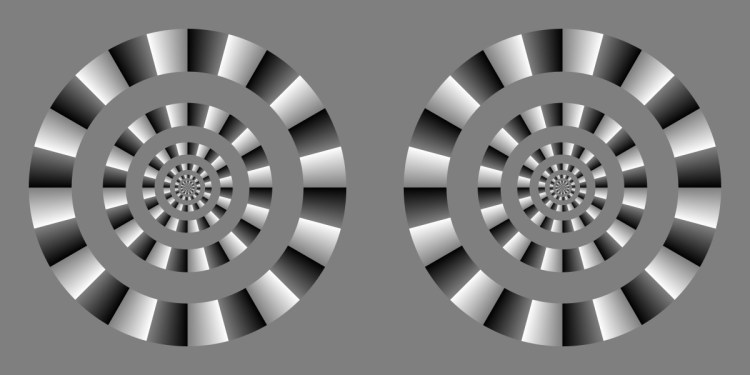 Rotating circles optical illusion using high contrast black-grey-white colour blocks