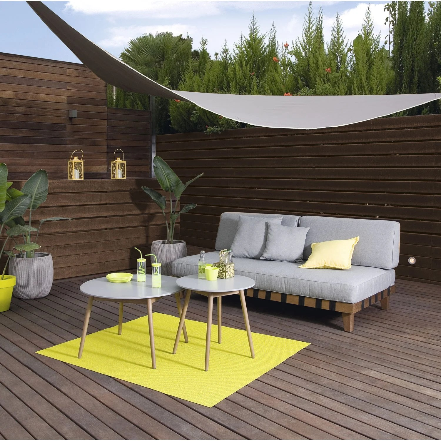 Voile D Ombrage Terrasse Voile D 39ombrage Triangulaire Taupe Fossil L 360 X L 360 Cm