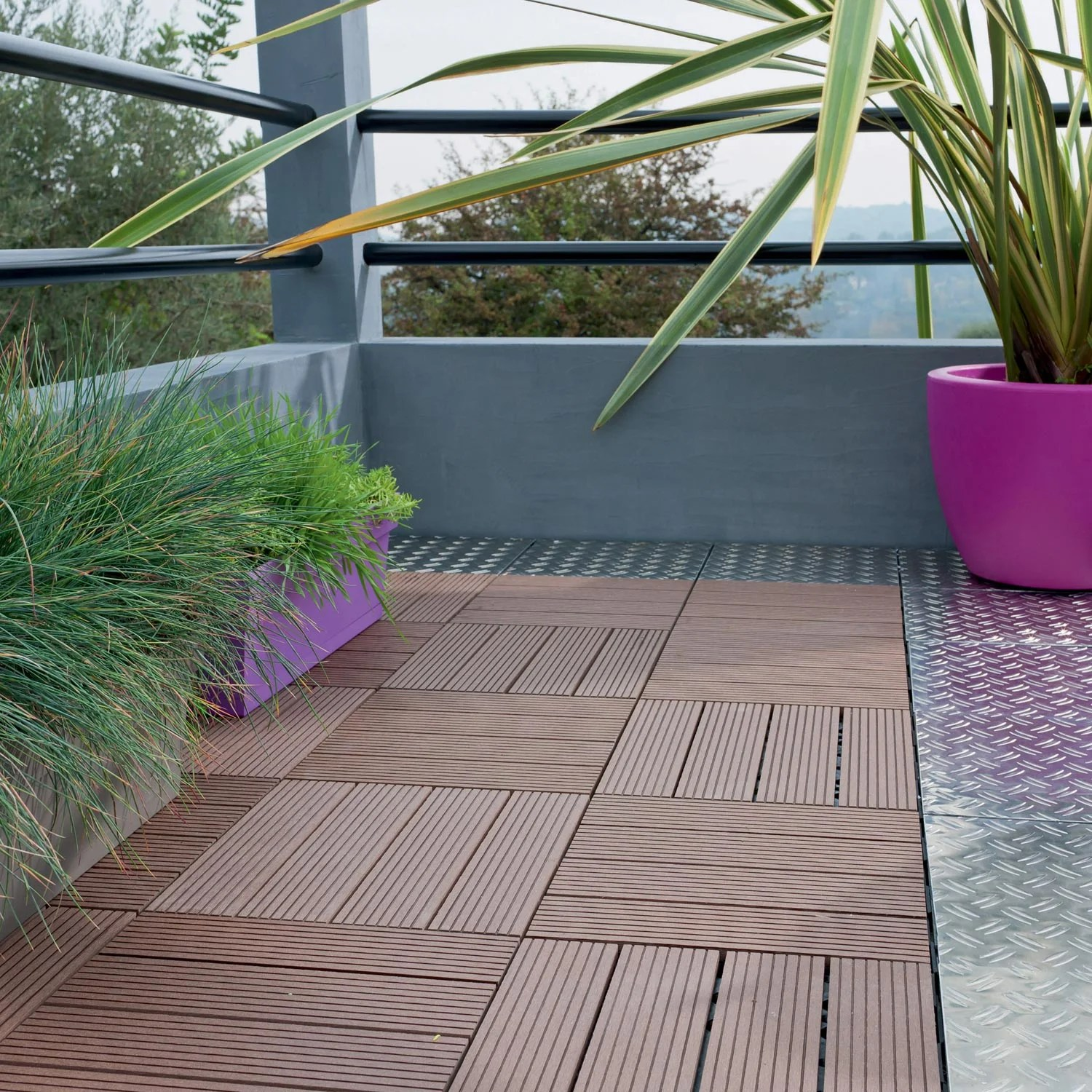 Terrasse Bois Clipsable Dalle Clipsable Composite Brun L 30 X L 30 Cm X Ep 23 Mm