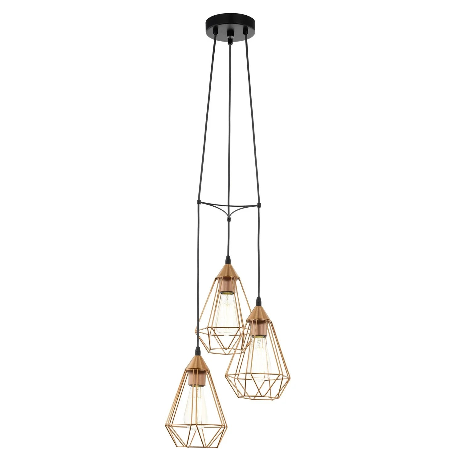 Lampe Suspension Cuivre Suspension E27 Design Tarbes Métal Cuivre 3 X 60 W Eglo