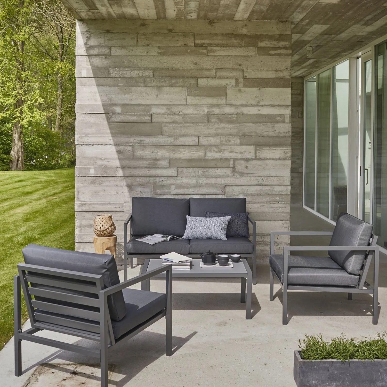 Salon de jardin en aluminium rembourrage capitonné style vintage ...