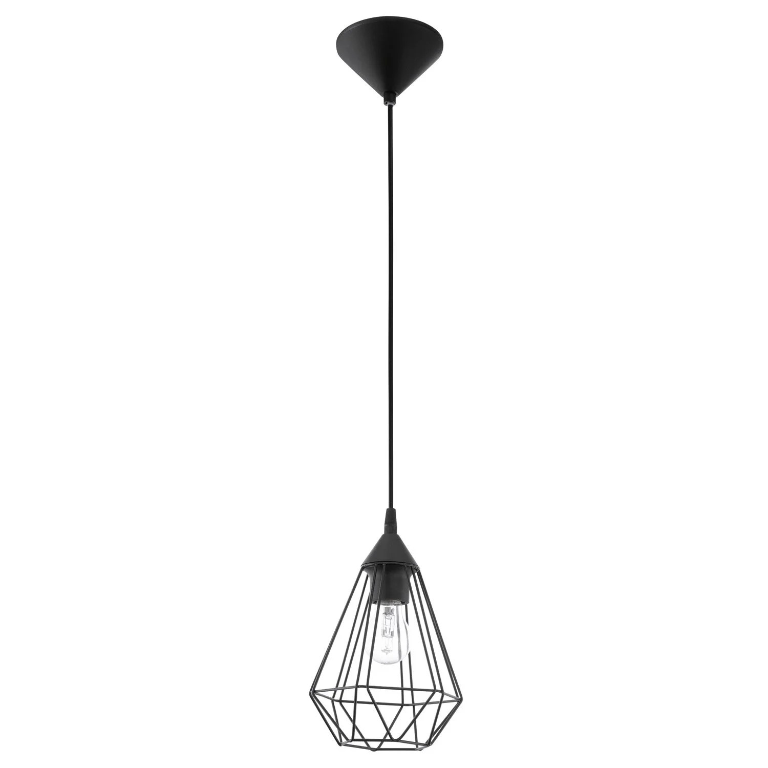 Suspension Noir Metal Suspension E27 Style Industriel Tarbes Métal Noir 1 X 60 W Eglo