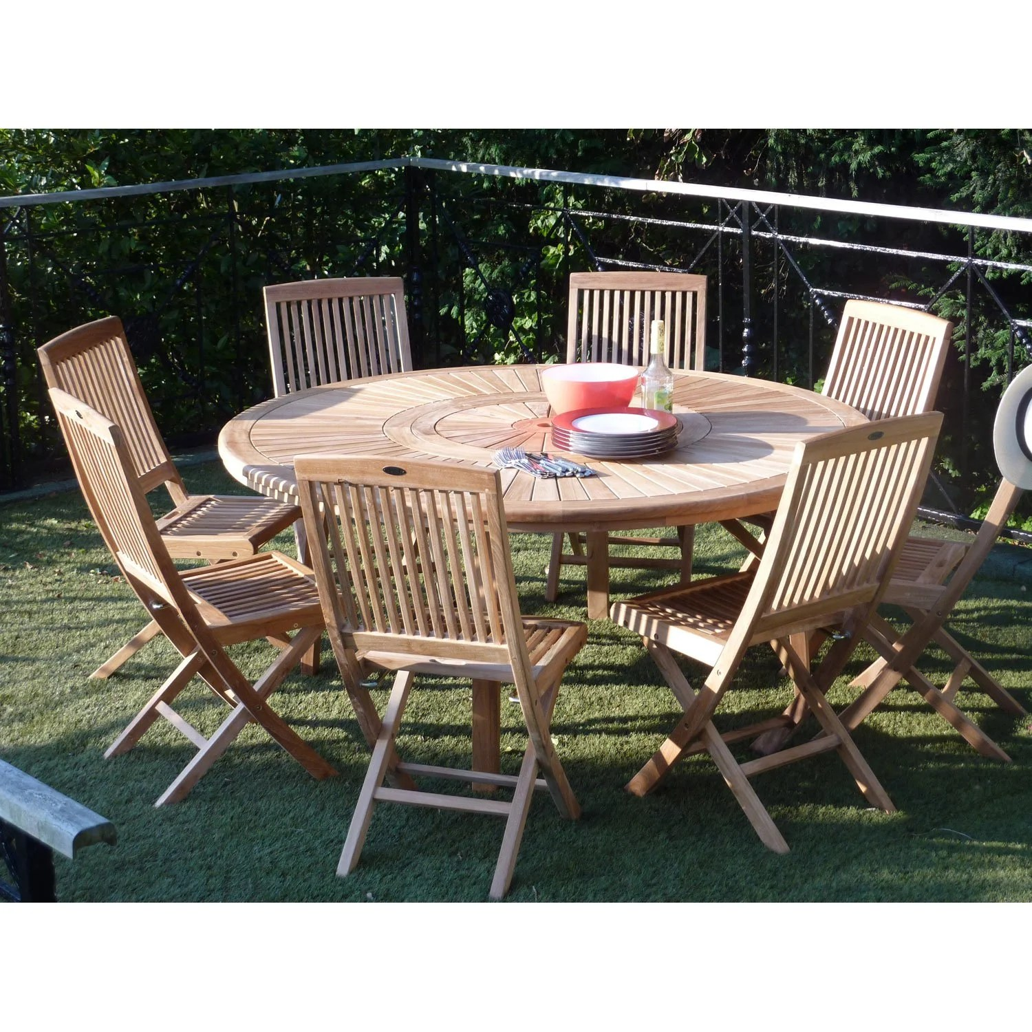 Table De Jardin Ronde Table De Jardin Orion Ronde Naturel 8 Personnes | Leroy Merlin