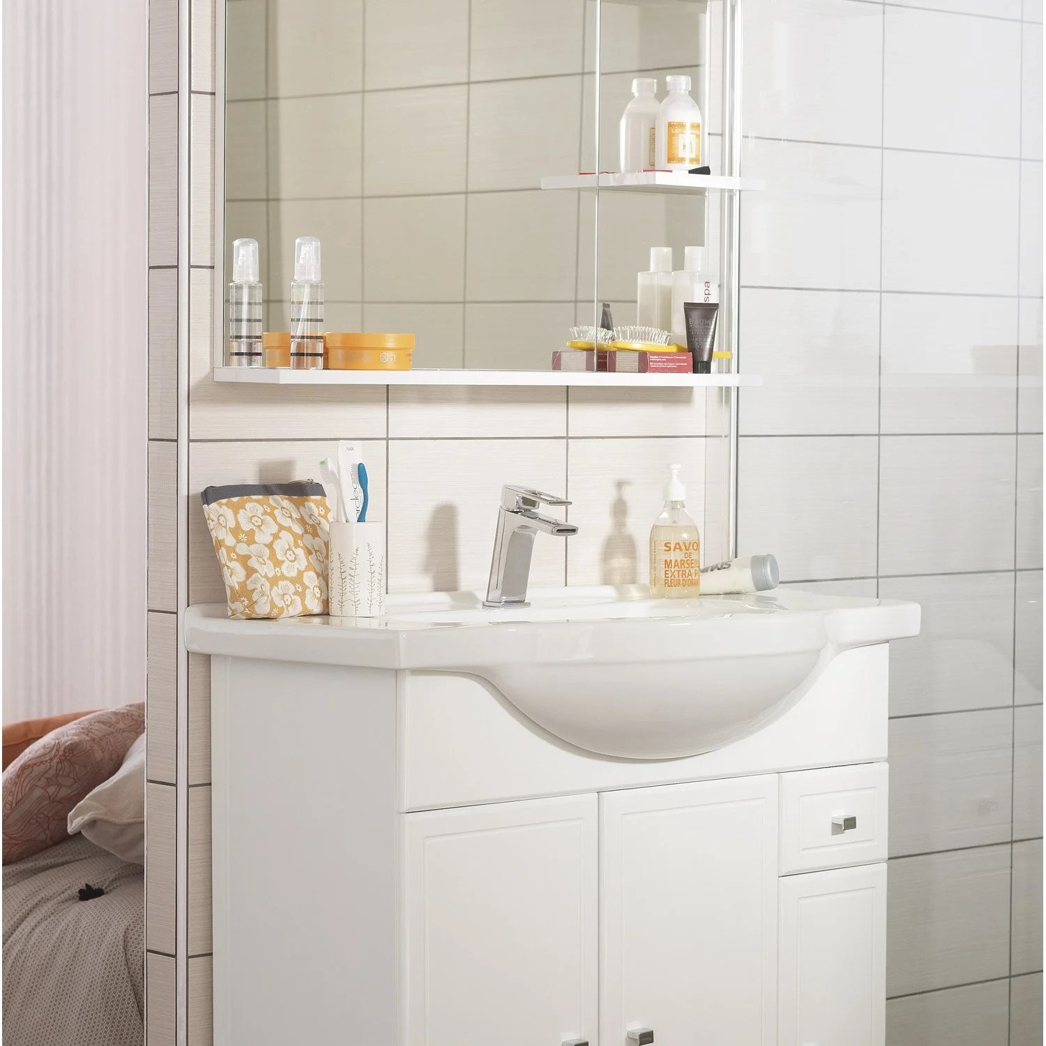 Meuble Vasque 70 Cm Leroy Merlin Meuble Vasque 85 Cm Blanc, Galice | Leroy Merlin