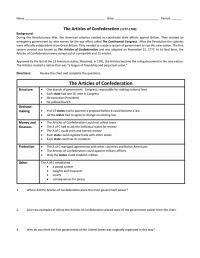 Good Articles Of Confederation Worksheet