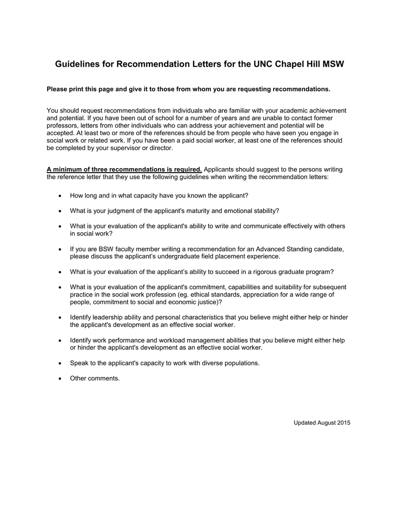 unc chapel hill letter of recommendation
