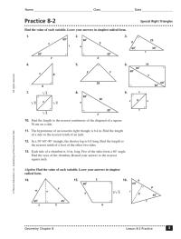 Special Right Triangles Quiz Worksheet - Kidz Activities