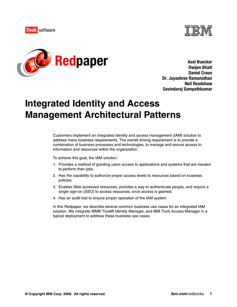 Tivoli Access Manager Session Management Server Red Paper Integrated Identity And Access Management Architectural