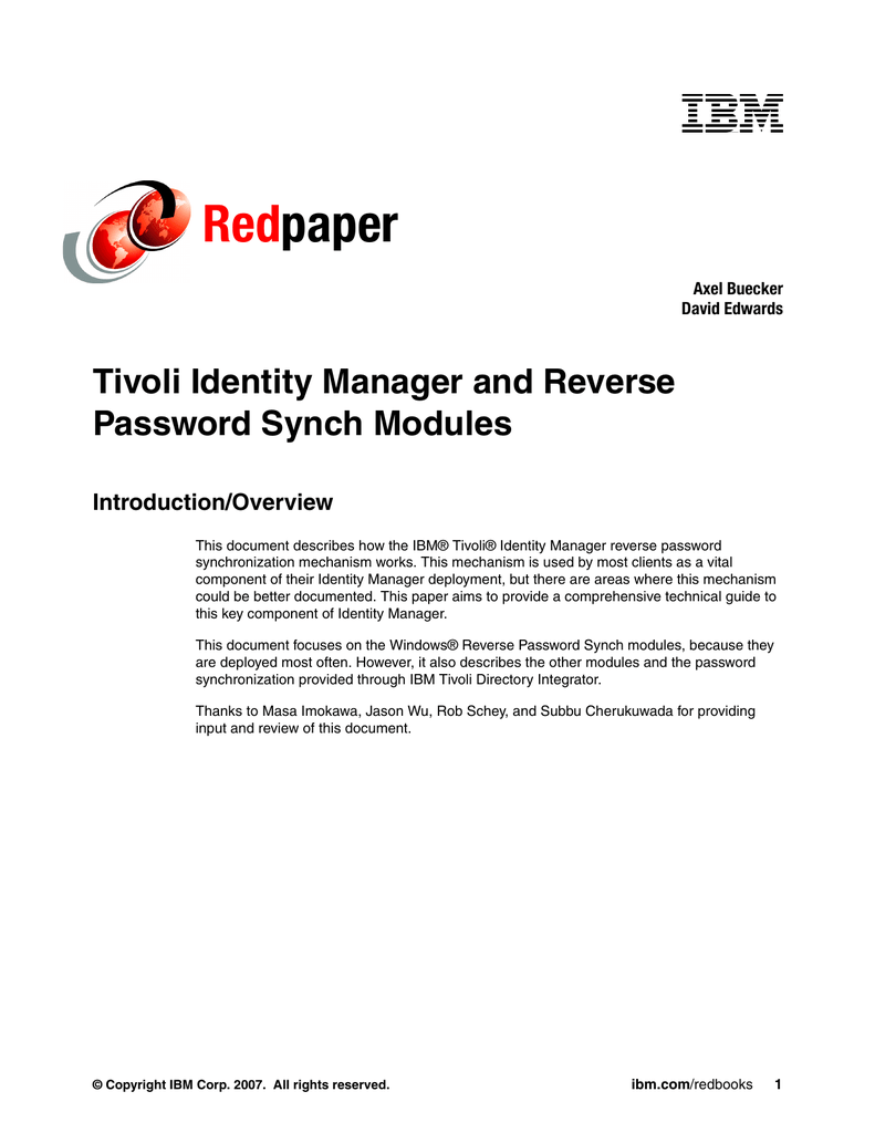 Ibm Tivoli Access Manager Tutorial Red Paper Tivoli Identity Manager And Reverse Password Synch Modules
