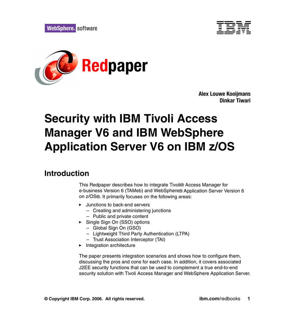 Tivoli Access Manager Force Password Change Red Paper Security With Ibm Tivoli Access Manager V6 And Ibm Websphere