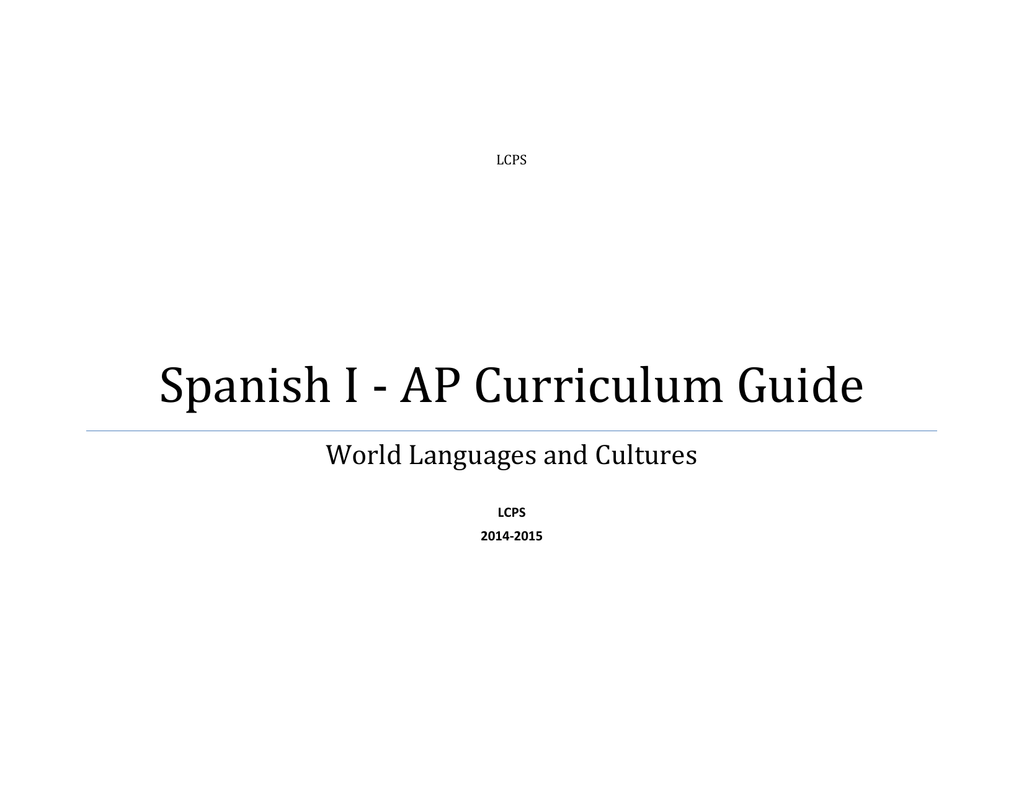 Cama Y Mesa Roberto Carlos Mp3 Spanish I Ap Curriculum Guide World Languages And Cultures Lcps
