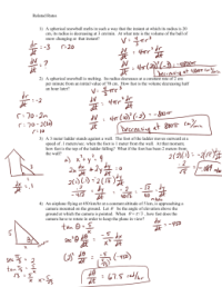 Worksheet on Related Rates (Section 2