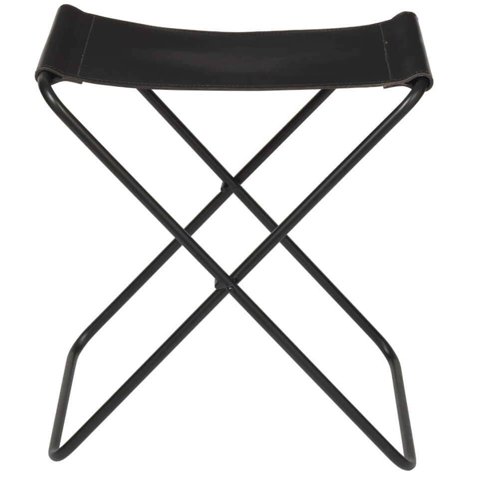 Stuhl Hocker Klappbar Broste Copenhagen Nola Leather Stool - Black Homeware