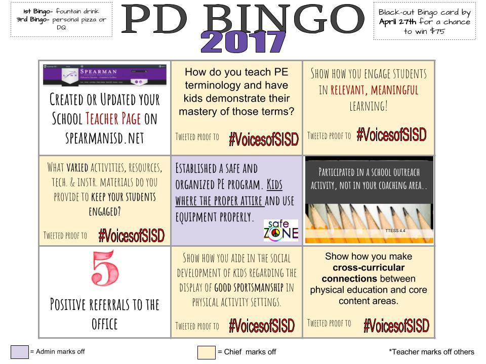 Elementary PE Bingo Card