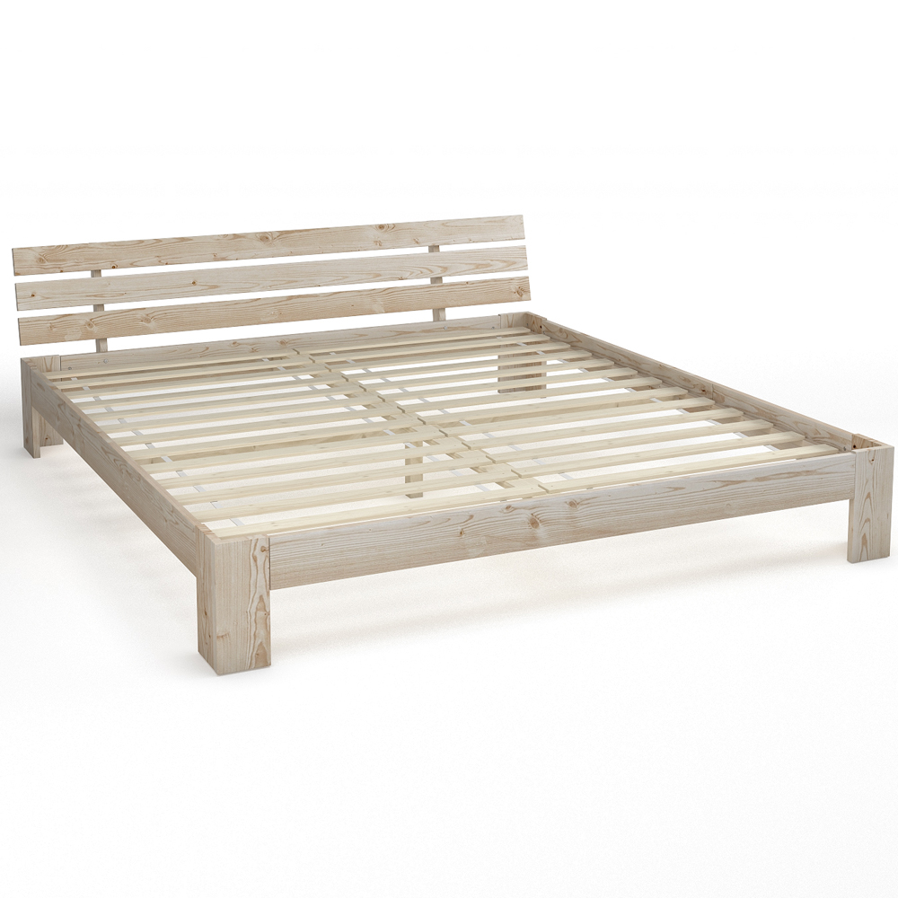Wooden Double Bed 180x200 Cm Solid Wood Bed Frame Incl