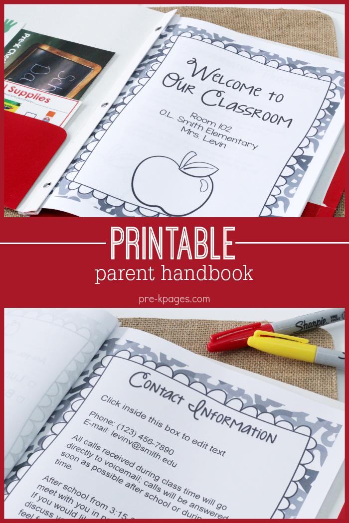 Printable Preschool Parent Handbook