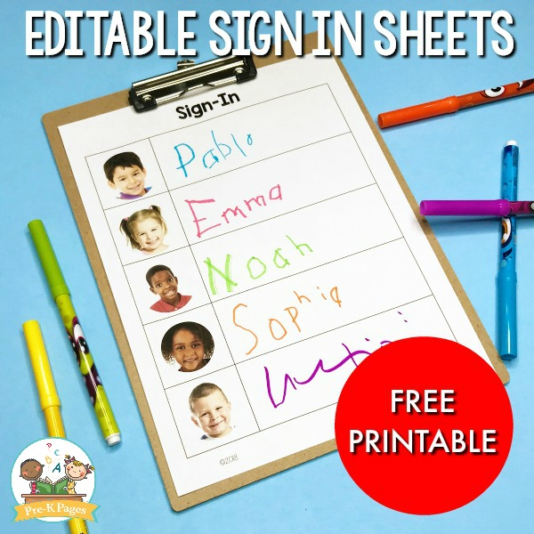 Free Daily Sign In Sheet for Preschool - Pre-K Pages