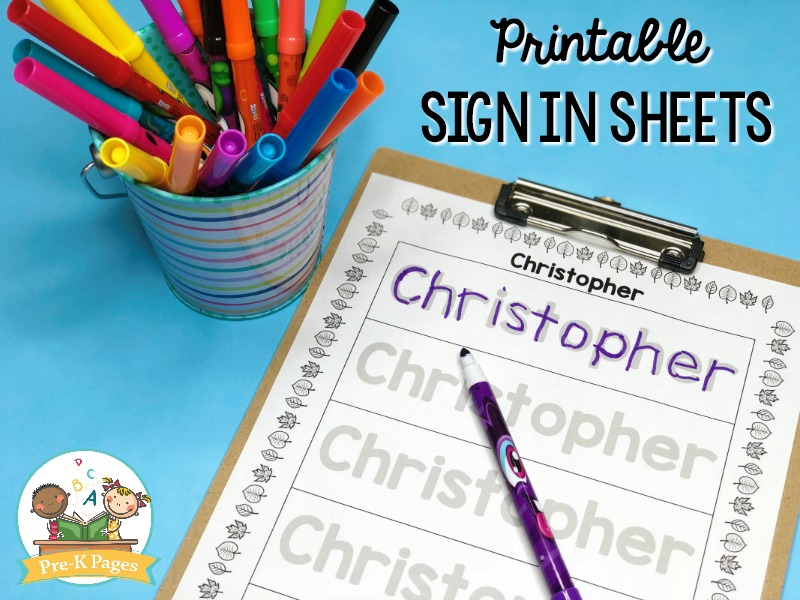 Editable Sign In Sheets - Pre-K Pages