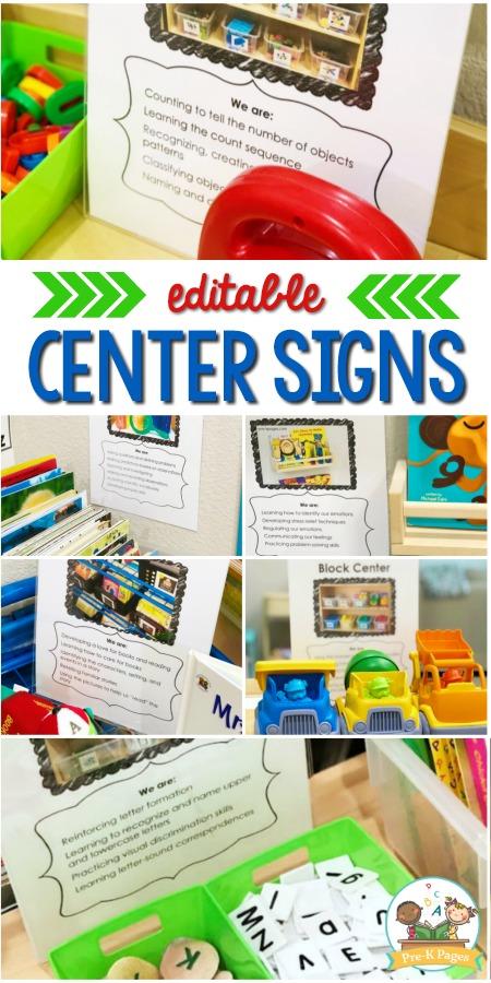 Editable Center Signs for Preschool Pre-K and Kindergarten