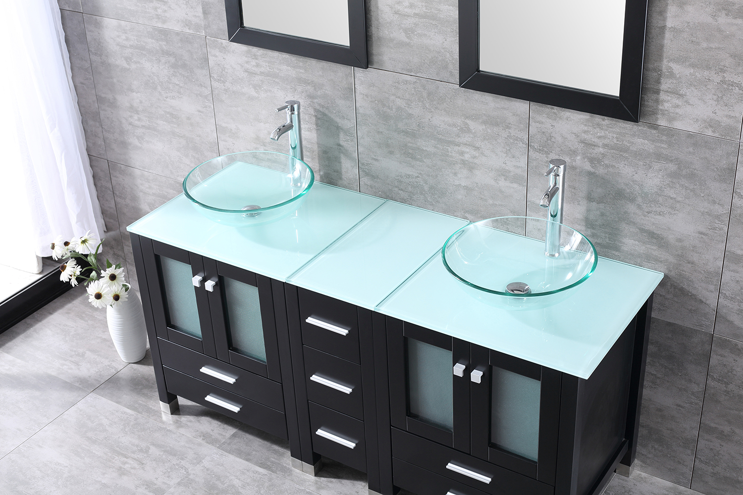 60inch Bathroom Vanity Plywood Cabinet Clear Tempered