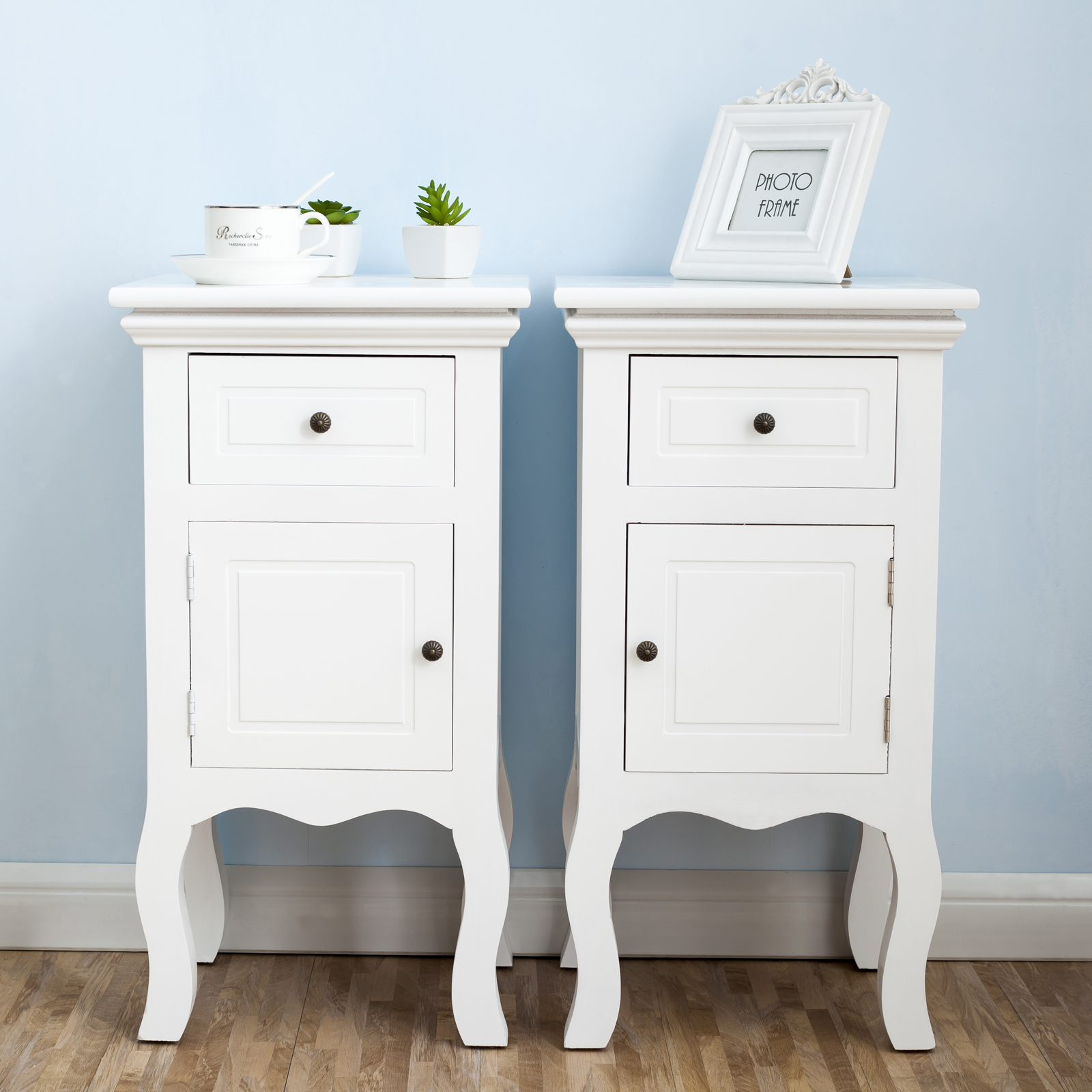White Bedside Drawers White Pair Of Bedside Table Unit Wooden Cabinet 2 Drawers