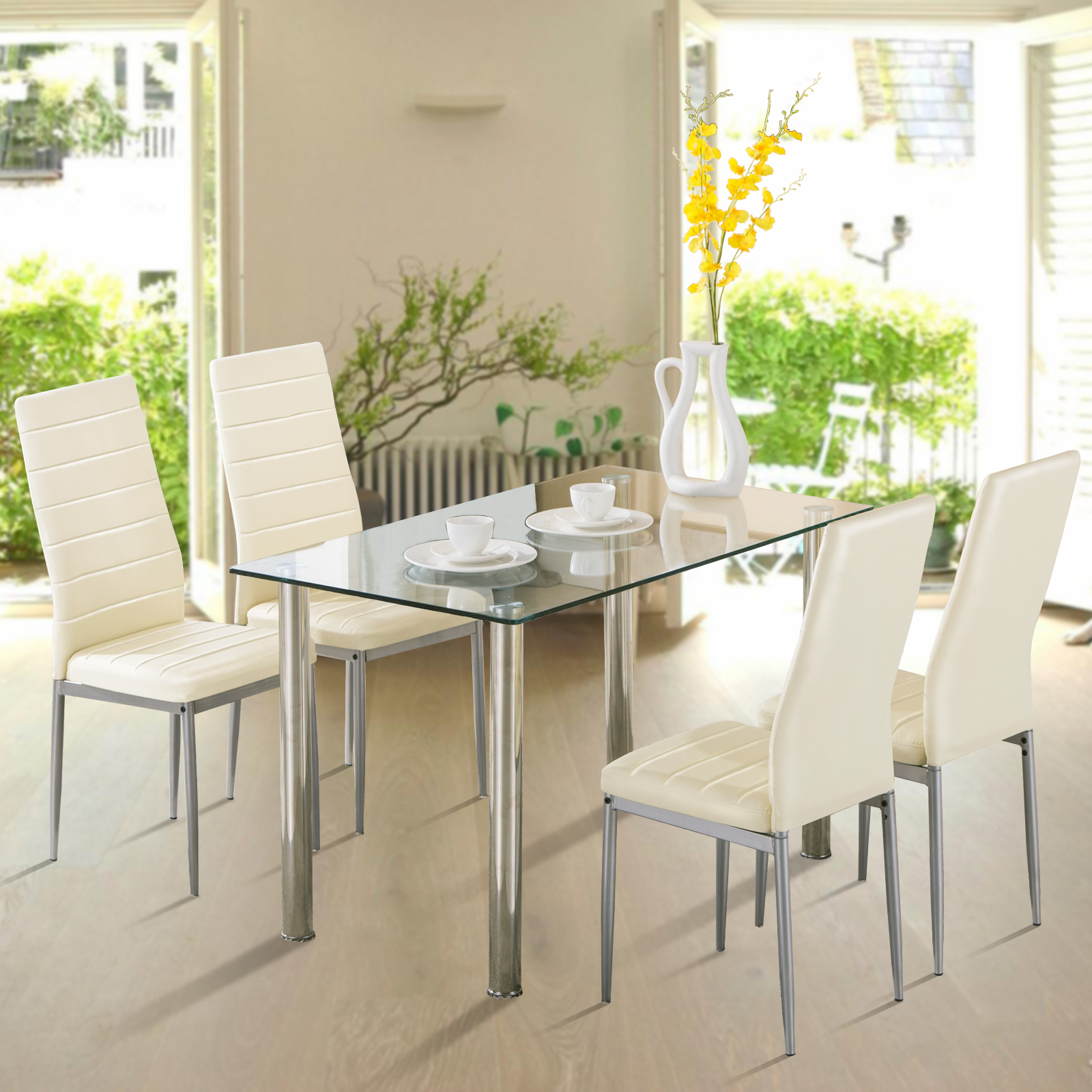 5 Piece Dining Table Set 4 Chairs Glass Metal Kitchen Room