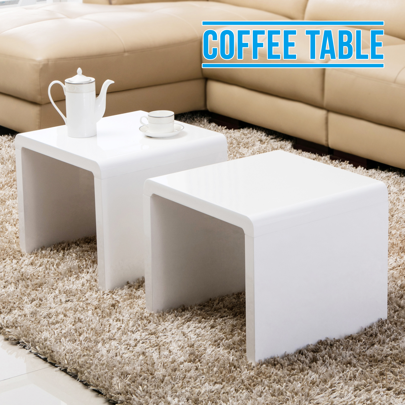 High End Coffee Tables Living Room Design White High Gloss Coffee Table Side End Table Set Of
