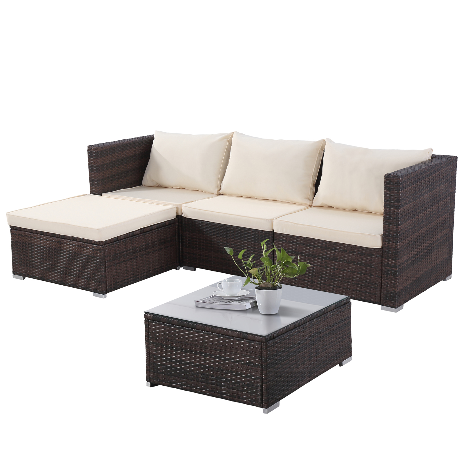 Rattan Garden Sofa Set Ebay Brown 7pc Patio Pe Rattan Wicker Sofa Set Garden Furniture