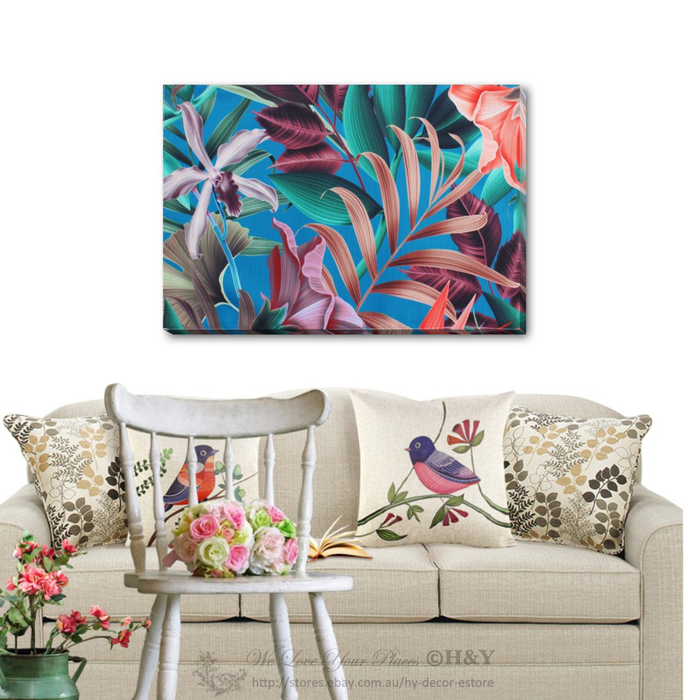 Art Deco Home Accessories Tropical Flower Stretched Canvas Print Framed Wall Art Shop Home